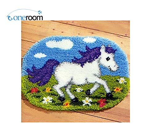 Zamtac Cartoon Horse Needlework Latch Hook Rug Kits Patchwork Carpet Embroidery Stitch Threads Cross-Stitch Embroidery Thread from Zamtac