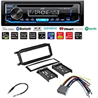 JVC KD-RD79BT 1-Din Car CD Receiver Stereo w/Bluetooth/USB/AUX/Pandora/iPhone CAR RADIO STEREO CD PLAYER DASH INSTALL MOUNTING TRIM BEZEL PANEL KIT + HARNESS FOR DODGE CHRYSLER JEEP 2002 - 2007