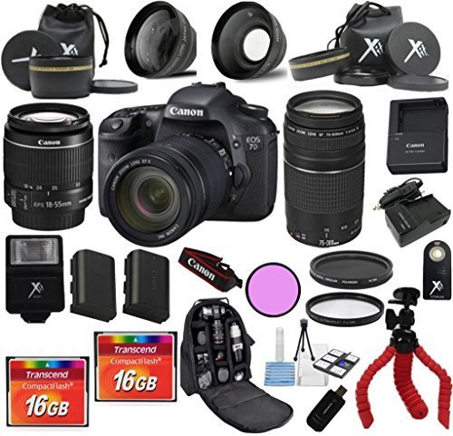 Canon 7D Camera Body For 18-55mm IS II + 75-300mm III + 24pc Kit - International Version