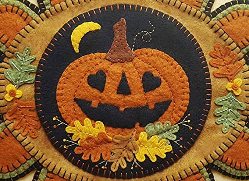 Falling in Love Penny Rug Kit Pre Cut and Pre Washed Applique Kit Pumpkin Pattern ()