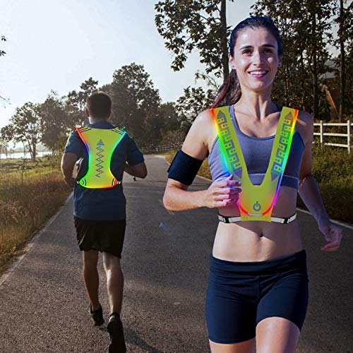NeatTimes LED Reflective Vest USB Rechargeable for Running Cycling Hikingin Night Sport, Make You Visible,Safe & Seen, Size Adjustable for Men and Women]()
