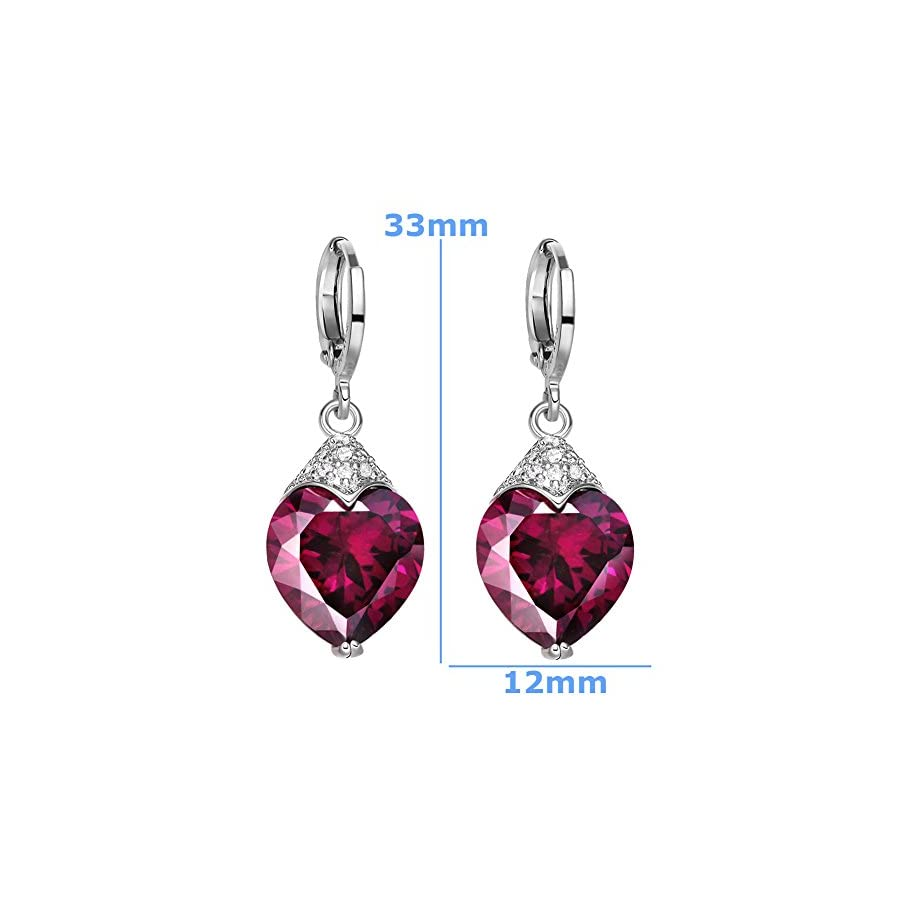 Fancy Magic Burgundy Hearts Love Amulets Silver Tone Cross Style Back Setting Sparkling Crystal Earrings