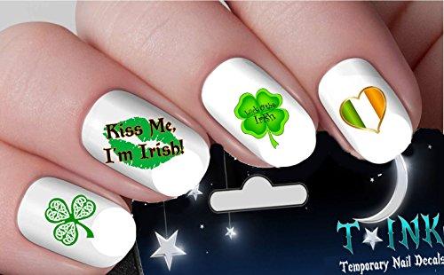 (Irish St. Patricks Day Green Shamrock Leprechaul Flag Decals nail art design set assorted)