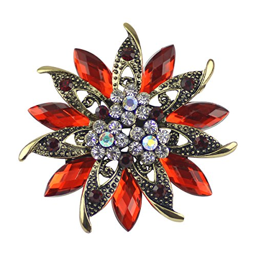 Ailer Happy Deal 20% Vintage Red Brooches for Women Bouquet Flower Brooch Pin with Created Crystal Rhinestone-Red