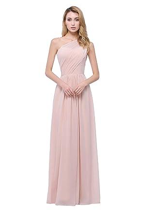 243b1ab39ae karever Chiffon One Shoulder Bridesmaid Dresses Asymmetric Women's Long  Prom Gowns, Blush, ...
