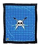 "Kivelli Baby Unisex Plush Punk Minky Skull Blankets 32"" X 38""- Boxed (Punk Rocker- Blue Skull with Guitars)"