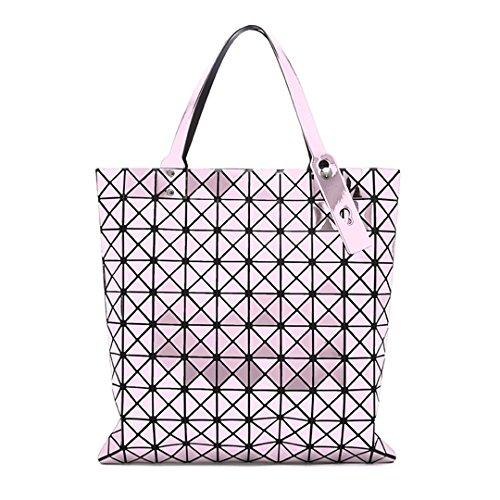 Las mujeres a cuadros de la bolsa de asas geométrica bolsos de hombro geométrico ocasional embrague plegable bolsos crossbody bolsa de mensajero de la mujer de oro Pink