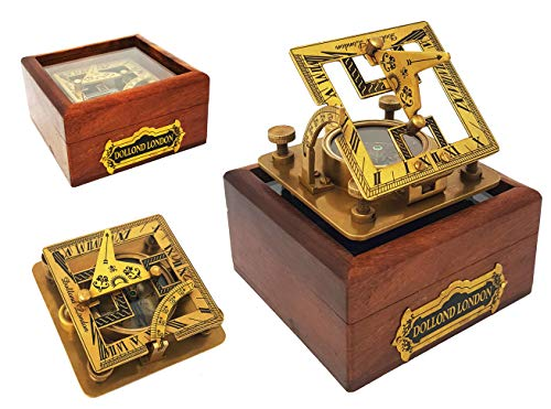 Brass Compass - 3 inches Handmade Sundial Compass in Gift Box Sun Dial Watch Navigation