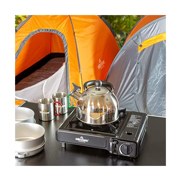 Milestone Camping Whistling Kettle Teapot Coffee Pot Indoor Outdoor Camping Hiking Picnic