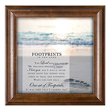 Footprints in the Sand 12 x 12 Inspirational Woograin Framed Wall Art Plaque