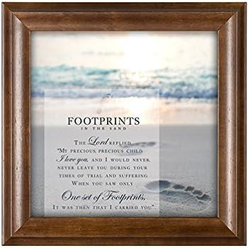 Footprints In The Sand 12 x 12 Inspirational Woodgrain Framed Wall Art Plaque