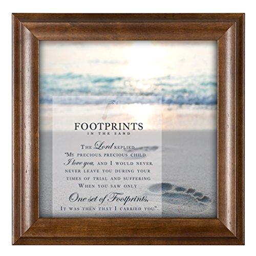 Footprints in the Sand 12 x 12 Inspirational Woograin Framed Wall Art - Footprints Plaque
