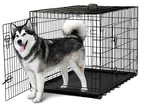 Metal Crate Pans General Cage (Pet Kennel Cat Dog Folding Steel Crate Animal Playpen Wire Metal Cage 48