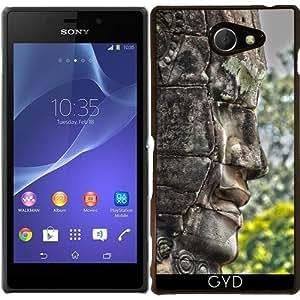 Funda para Sony Xperia M2 - Cabeza Tallada Angkor Camboya by Brian Raggatt