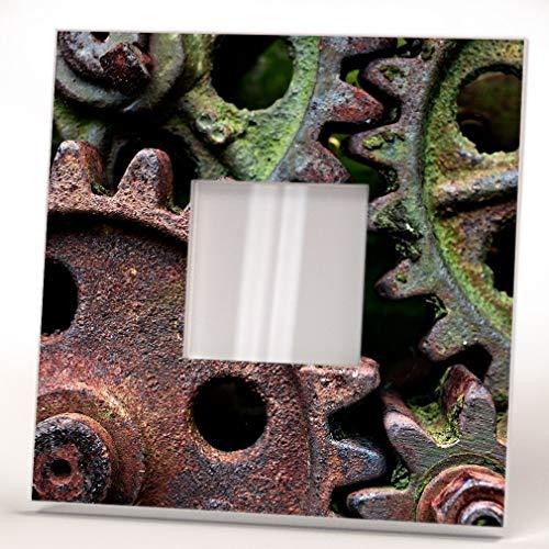 Rusty Gears Steampunk Lovers Industrial Design Fan Wall Framed Mirror Printed Art Home Decor Gift