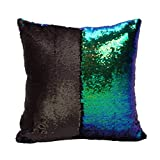 Bifrost 16 x 16 inch Double Colors Reversible Sequin Mermaid Pillow Cover, Glitter Sofa Throw Cushion Case - Peacock blue