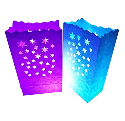 24 Pack Luminary Bags - Stars Design Candle