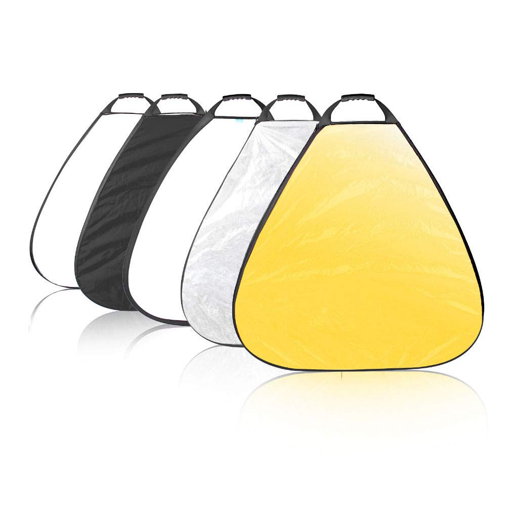 Triangle Portable Reflector 5in1 Handle Photo Reflector Photography Light Control Collapsible 80cm with Carrying Bag