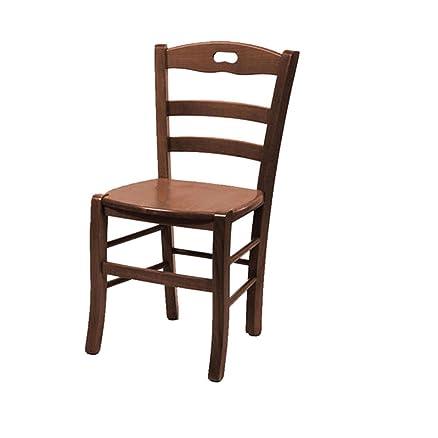 Sedia legno massello noce 34x27xH94 rustica cucina salotto ...