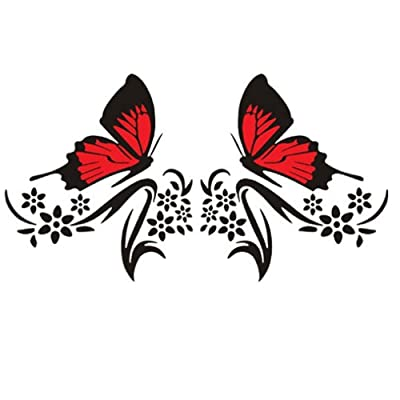 Practisol Car Decals for Women,1 Set Butterfly and Flower Car Decal Stickers, Vinyl Car Graphics Side Hood Decals for Cars/SUV, Universal Scratch Hidden Car Sticker (Black): Automotive