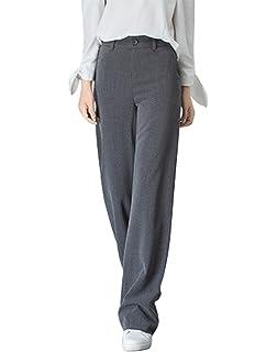 Huateng Mesdames Womens Straight Leg Pantalons Pantalon Doux Bureau  Infirmière Carer Vêtements de Travail Casual Bas 84030b0afc80