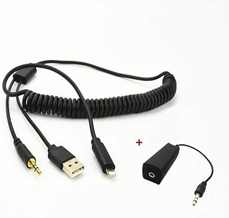 Aux In Adapter Usb 3 5 Mm Klinke Y Spiralkabel Kompatibel Für Bmw Mini Cooper Auto Audio Musik Interface Netzkabel 2 Meter Gedehnt Navigation