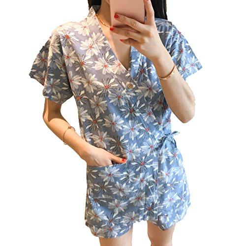Lavenderi Summer 100% Cotton Japanese Kimono Style Pajama Set(L,Daisy) ()