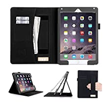[Luxurious Protection] iPad Air 2 Case Cover, fyy Premium Leather Case Stand Cover with Card Slots, Pocket, Elastic Hand Strap and Stylus Holder for iPad Air 2 Black (With Auto Wake/Sleep Feature)