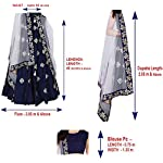 Aayan export Women's Silk Embroidered Semi-Stitched Lehenga Choli and Dupatta Set (Blue, Free Size)