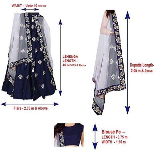 51wqfa  tGL. SS500  - Aayan export Women's Silk Embroidered Semi-Stitched Lehenga Choli and Dupatta Set (Blue, Free Size)