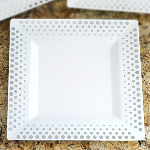 Efavormart 50 Pcs - White with Silver 10.75
