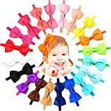 20 Colors Soft Baby Headbands Hair Bows Elastic...
