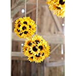 Floral-Home-Artificial-Sunflower-Kissing-Ball-in-Yellow-7-Wide-Set-of-2