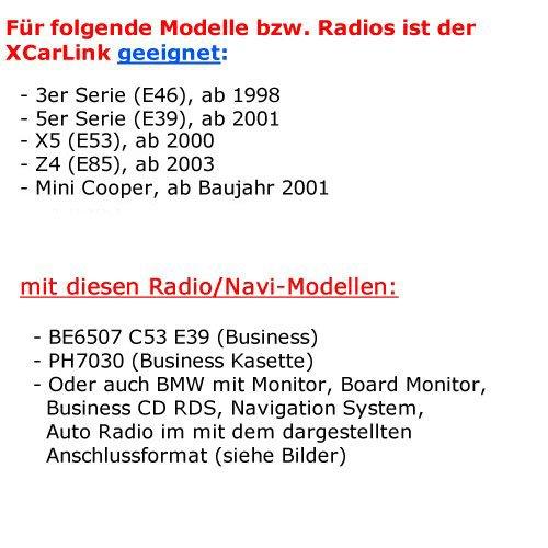 good XCarLink 2 USB SD AUX Radio MP3 Changeur voiture Musique adaptateur pour BMW (FLAT PINS) avec affichage de texte pour Série 3 (E46), série 5 (E39) X3 (E83) X5 (E53) Z4 (E85) et Mini Cooper - PLUG&PLAY