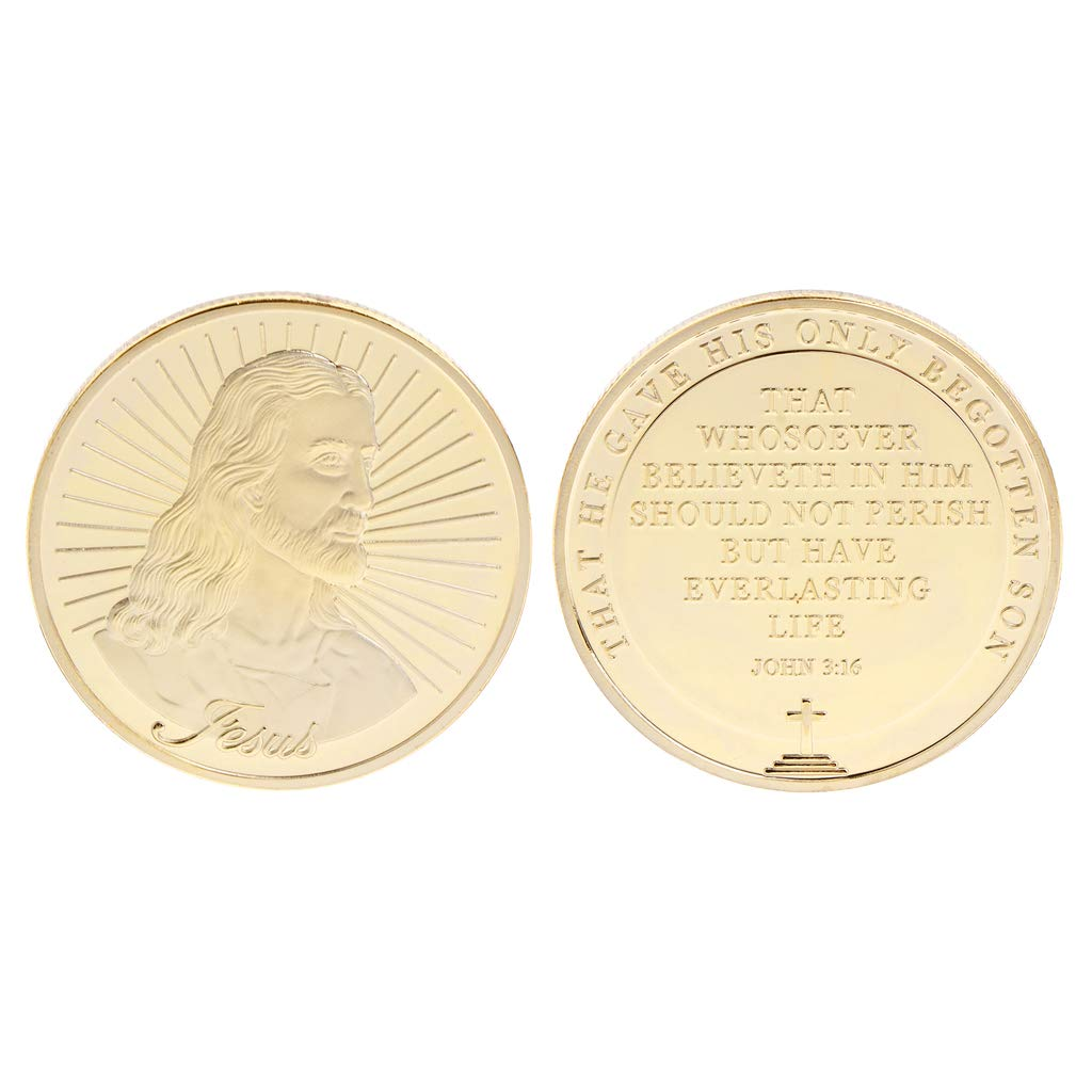 Amarzk Commemorative Coin Jesus Saying Bless Silver Gold Collection Souvenir Art Gifts Craft Collectible(Gold)