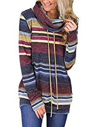Women Cowl Neck Striped Long Sleeve Drawstring Pullover Top Sweatshirt Pockets