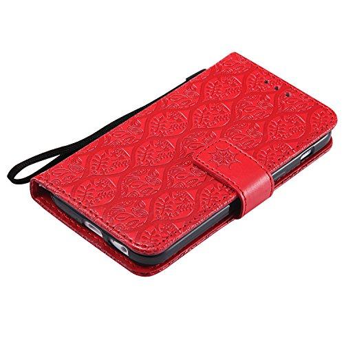 Samsung Galaxy A3 2017 / A320 Hülle Leder Blumenprägung, Lomogo Schutzhülle Brieftasche mit Kartenfach Klappbar Magnetverschluss Stoßfest Kratzfest Handyhülle Case für Samsung Galaxy A3 (2017) - LOYYO Rot