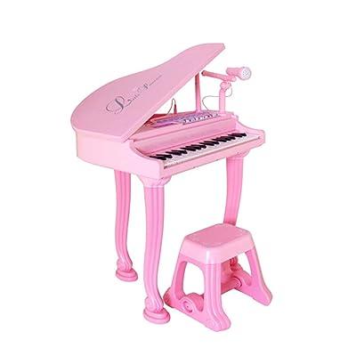 GLJJQMY Pequeño Piano con micrófono. Juguete para niños de 3-6 años. Micrófono de música. Juguete de iluminación. Piano para niños Piano (Color : Pink): Hogar