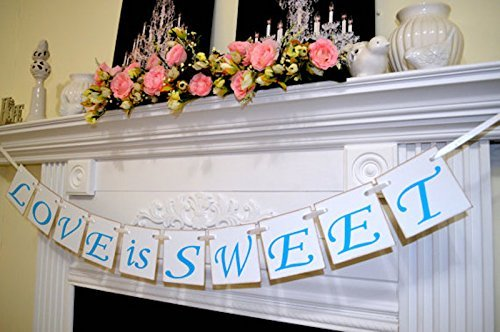 Love Is Sweet - Blue love banner, wedding banners garland, sweet love dessert table banner, bridal shower decorations, Sweets banner - Blue Garland Dessert