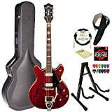 Guild Starfire V w/ GVT CHR Semi-Hollow Body Electric Guitar, Cherry Red, with Guild Hard Case, ChromaCast Electric Strings, Cable, Strap, Picks, Stand and Polish Cloth