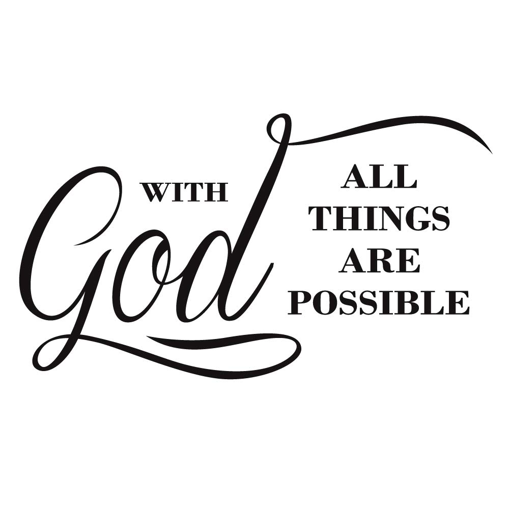 ZSSZ with God All Things are Possible Vinyl Wall Decal Religious Home Décor Christian Quote Prayer Wall Stickers Art…