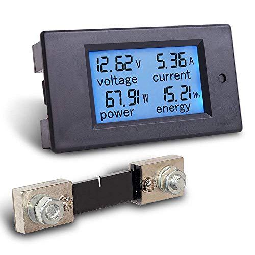 4-in-1 DC Electricity Usage Monitor,DC 6.5-100V 0-100A LCD Display Digital Current Voltage Power Energy Meter Multimeter Ammeter Voltmeter with 100A Current Shunt