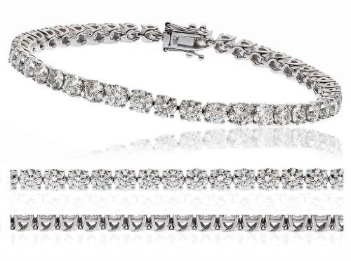 8CT Certified G/VS2 Round Brilliant Cut Claw Set Diamond Tennis Bracelet in 18K White Gold