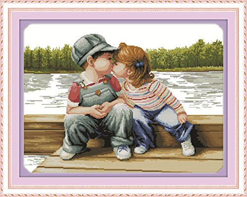 YEESAM ART New Cross Stitch Kits Advanced Patterns for Beginners Kids Adults - Innocence 11 CT Stamped 75×58 cm - DIY Needlework Wedding Christmas Gifts