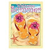 Cheap ALAZA Welcome Summer Flip Flop On Beach Double Sided House Flag Garden Banner 28″ x 40″, Tropical Flowers Flip Flop Shell Starfish Sea Garden Flags for Anniversary Yard Outdoor Decoration