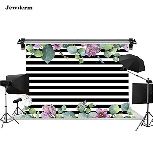 (Jewderm 10x6.5ft Purple Flowers Green Leaves Photo Backgrounds Dragonfly Black White Stripes Photography Backdrops Cake Table Children Kids Newborn Baby Shower Birthday Party Booth)