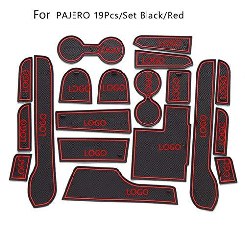 Tralntion 19pcs/Set Gate Slot Pad Automotive Interior Non-Slip Mats Replacement for Mitsubishi Pajero 2014-2015