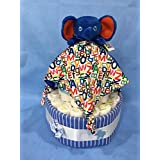ERIC Carle Blue Elephant Snuggle Diaper Cake! Two Tier, Gender Neutral with Blue & White Striped Receiving Blanket!