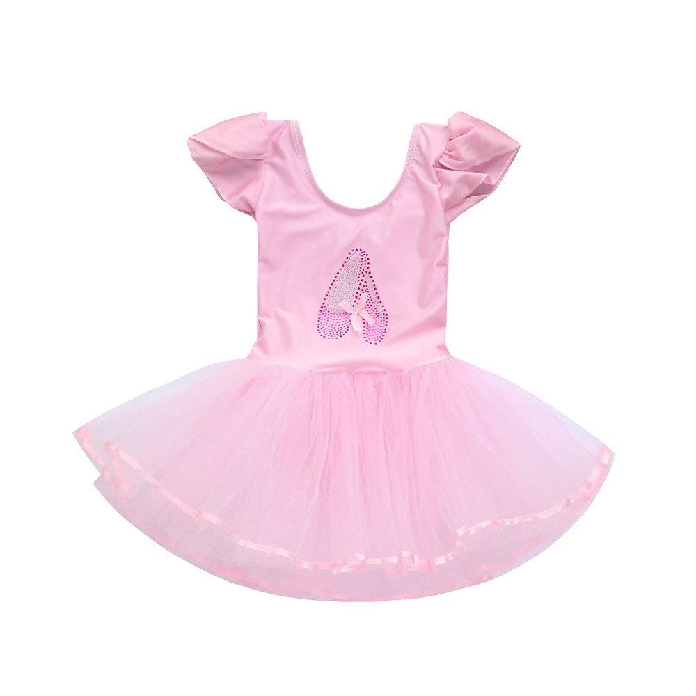 ❤️Mealeaf❤️ Toddler Girls Gauze Leotards Ballet Bodysuit Dancewear Dress Clothes Outfits (1-2 Years Old, Blue) meal-leaf