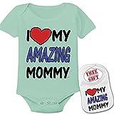 '' I love my amazing mommy ''Cute Custom boutique Baby bodysuit onesie & matching bib